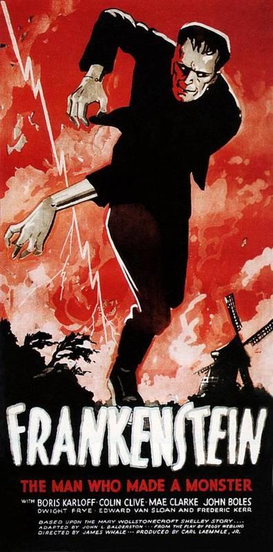 1930s Movies Poster featuring the photograph Frankenstein, Boris Karloff, 1931 by Everett