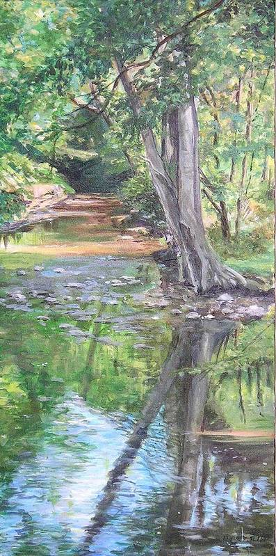 Creek Poster featuring the painting French Creek by Denise Ivey Telep
