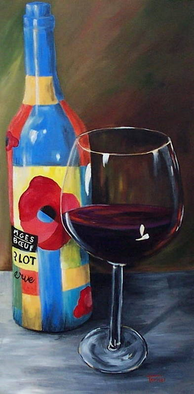 A Glass Of Red Wine Standing In Front Of The Colorful Bottle. Poster featuring the painting Glass Of Merlot  by Torrie Smiley