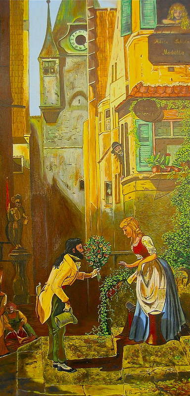 1700's European Village Poster featuring the painting Good Morning Dear by V Boge