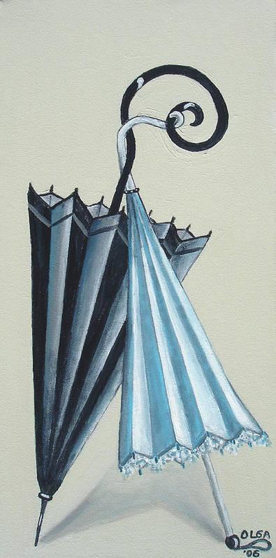 Umbrellas Poster featuring the painting Goog Morning by Olga Alexeeva