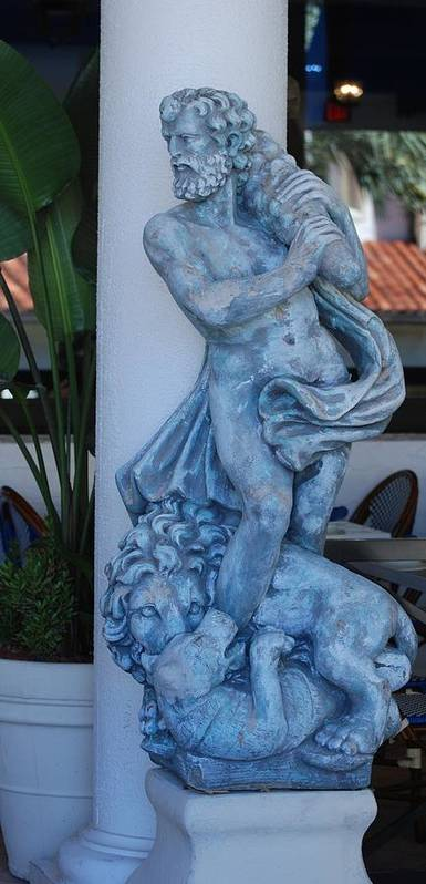 Statue Poster featuring the sculpture Greek Dude And Lion In Blue by Rob Hans