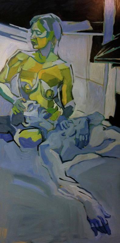 Conversation Poster featuring the painting Liz N' Brian Pieta by Piotr Antonow