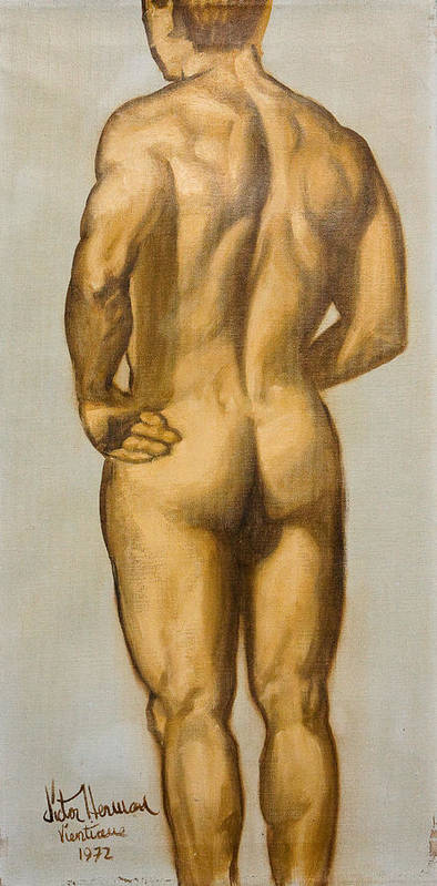 Man Poster featuring the painting Male Nude Self Portrait By Victor Herman by Joni Herman