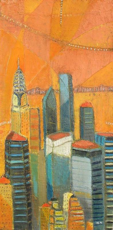 Poster featuring the painting Nyc In Orange by Habib Ayat