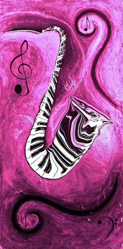 Piano Keys In A Saxophone Hot Pink - Music In Motion Poster featuring the mixed media Piano Keys In A Saxophone Hot Pink - Music In Motion by Wayne Cantrell