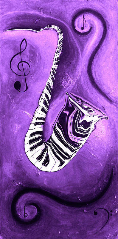 Piano Keys In A Saxophone Purple - Music In Motionabstract Poster featuring the mixed media Piano Keys In A Saxophone Purple - Music In Motion by Wayne Cantrell