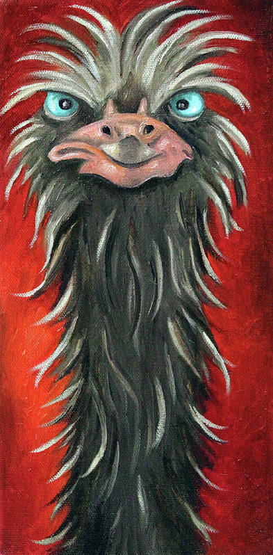 Ostrich Poster featuring the painting Poser 3 by Leah Saulnier The Painting Maniac