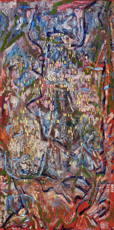 Abstract Red Yellow Pattern Poster featuring the painting Red City by Joan De Bot