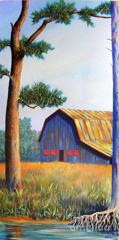 Barn Poster featuring the painting Riverbank Barn by Hugh Harris