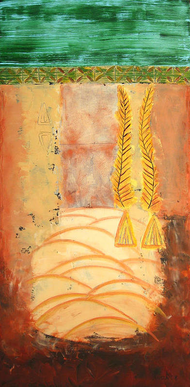 Abstract Poster featuring the painting Scythian Gold 2 by Aliza Souleyeva-Alexander