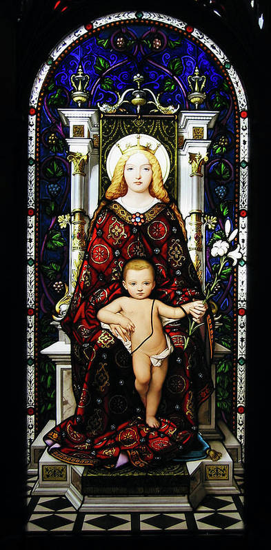3scape Photos Poster featuring the photograph Stained Glass Of Virgin Mary by Adam Romanowicz
