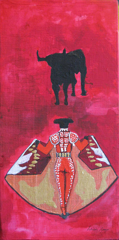 Spanish Art Poster featuring the painting The Bull Fight No.1 by Patricia Arroyo