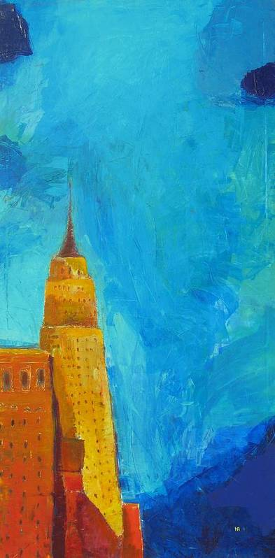 Abstract Cityscape Poster featuring the painting The Empire State by Habib Ayat