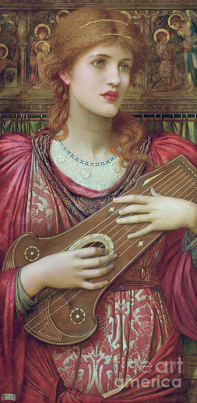 Pre-raphaelite Poster featuring the painting The Music Faintly Falling Dies Away by John Melhuish Strudwick