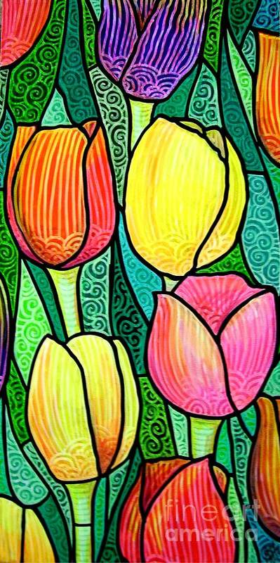 Tulips Poster featuring the painting Tulip Expo by Jim Harris