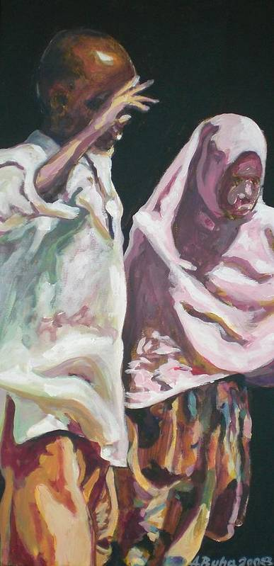 Africa Poster featuring the painting Two Children by Aleksandra Buha