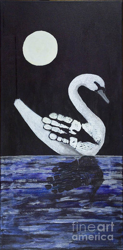 Prints Of Freedom Poster featuring the painting Wait A Second Swansong by Michelle Finnegan