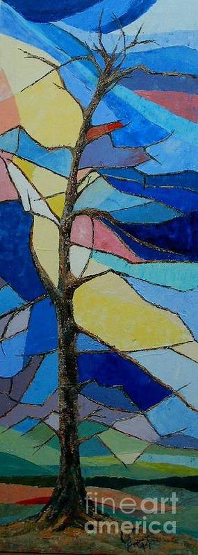 Tree With Intense Multicolored Background Poster featuring the painting Tree Intensity - SOLD by Judith Espinoza