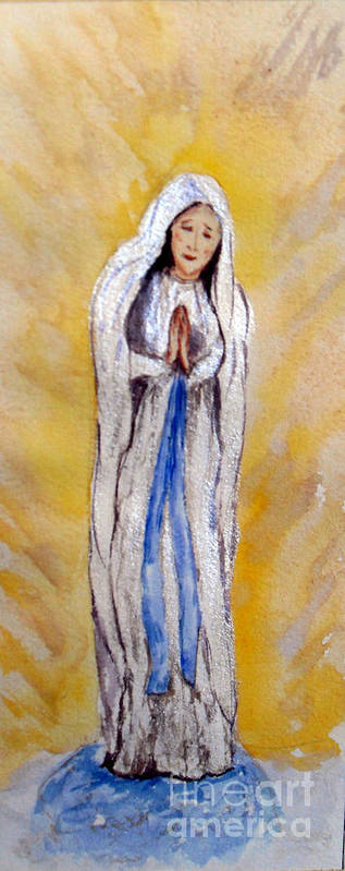 Our Lady Of Lourdes Poster featuring the painting Our Lady Of Lourdes by Vicki Housel