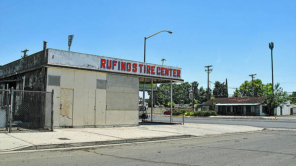 California Landscape Art Poster featuring the photograph Rufino's Tire Center by Larry Darnell