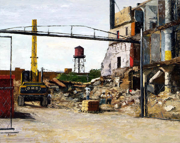 Cityscape Series Poster featuring the painting Demolition 4 by Nancy Albrecht