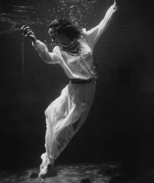 Vintage fashion photo underwater photography art antique photograph beautiful woman black and white  by Celestial Images
