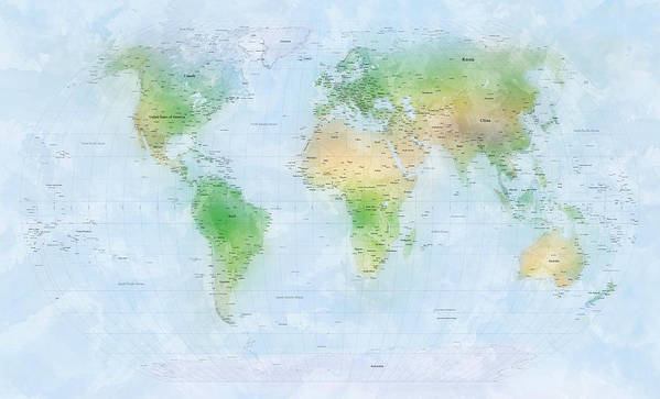World Map Poster featuring the digital art World Map Watercolor by Michael Tompsett