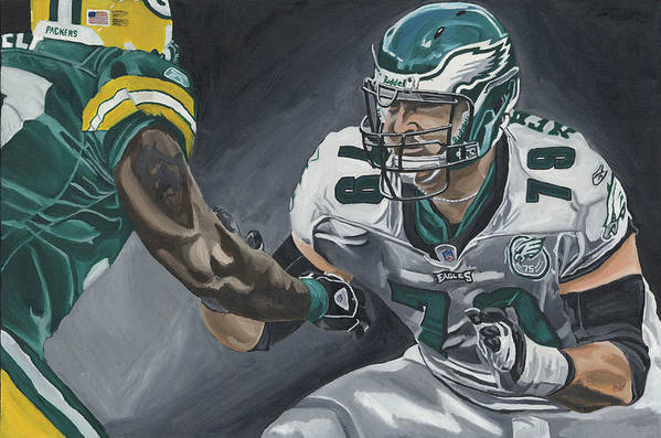 Todd Herremans Philedelphia Eagles In The Trenches David Courson Sports Painting Poster featuring the painting In The Trenches by David Courson