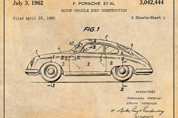1962 Porsche 356 Speedster Patent Print Antique Paper by Greg Edwards