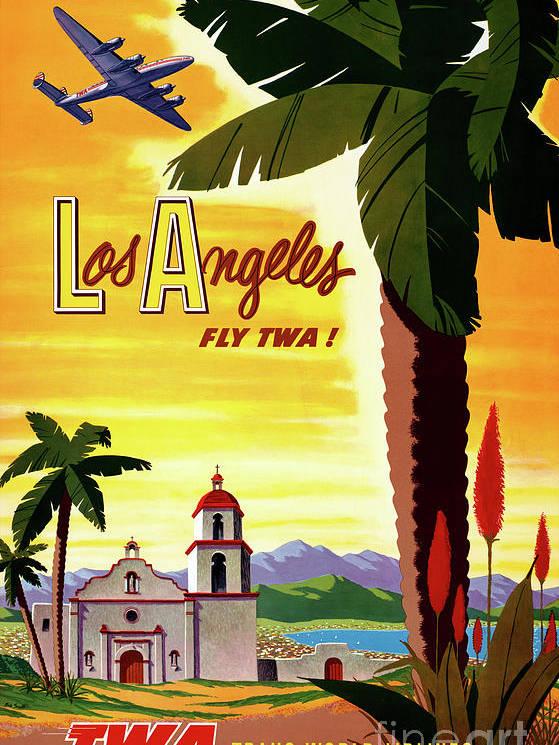 Los Angeles Vintage Air Travel Poster Restored by Vintage Treasure