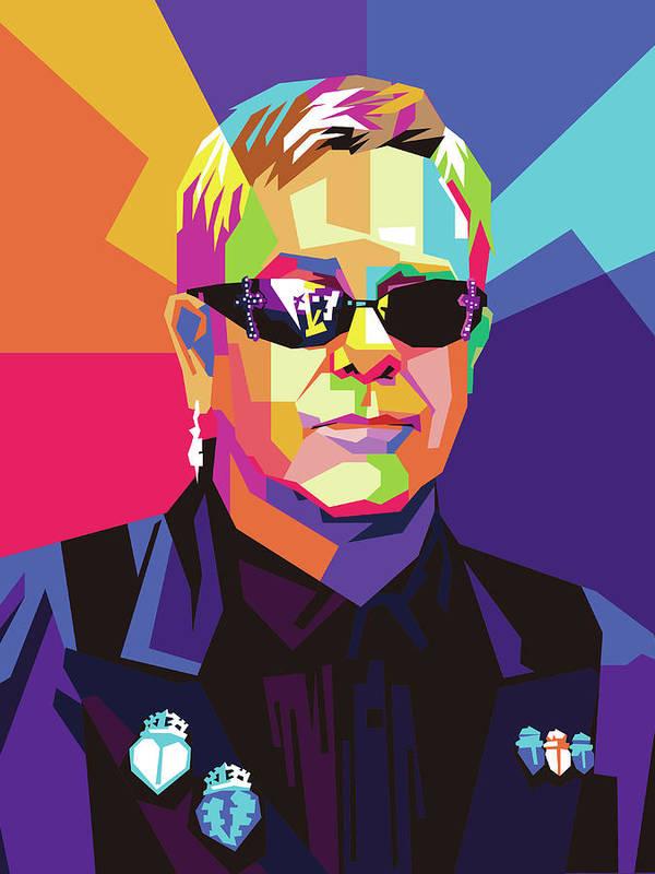Elton John Wpap Pop Art by Ahmad Nusyirwan