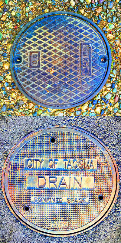 Blue Poster featuring the photograph Blue Drains by Nancy Merkle