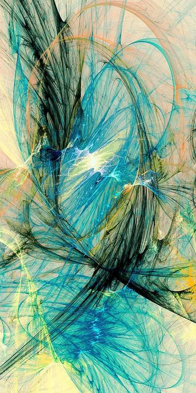 Malakhova Poster featuring the digital art Blue Phoenix by Anastasiya Malakhova