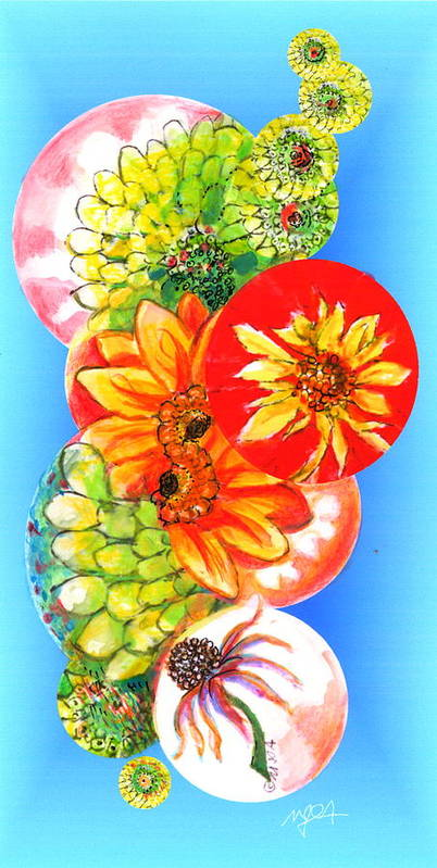 Flower Poster featuring the digital art Circles Of Flowers by Mary Armstrong