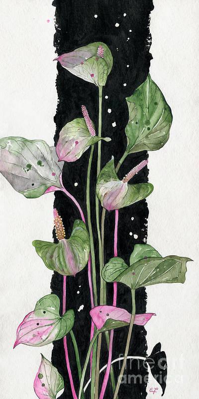 Andraeanum Poster featuring the painting Flower Anthurium 02 Elena Yakubovich by Elena Yakubovich