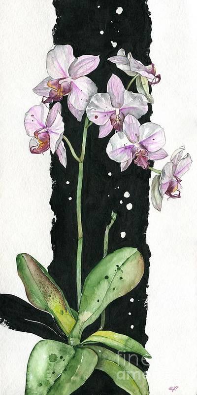 Art Poster featuring the painting Flower Orchid 02 Elena Yakubovich by Elena Yakubovich