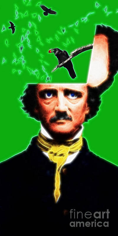 Edgar Poster featuring the photograph Forevermore - Edgar Allan Poe - Green by Wingsdomain Art and Photography