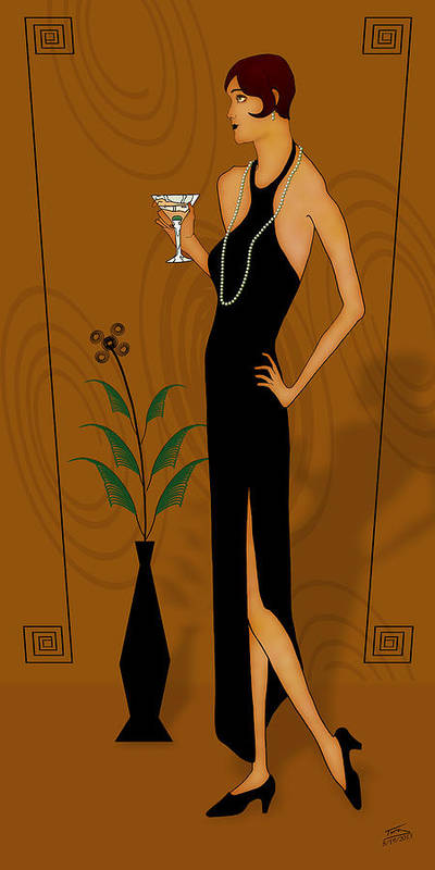 Gatsby Girl Poster featuring the drawing Gatsby Girl by Troy Brown