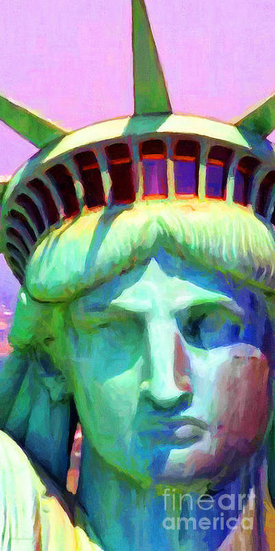 Patriotic Poster featuring the photograph Liberty Head Painterly 20130618 Long by Wingsdomain Art and Photography