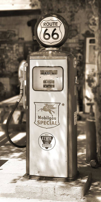 Route 66 Poster featuring the photograph Mobilgas Special - Tokheim Pump - Sepia by Mike McGlothlen