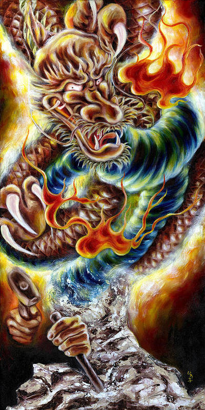 Caving Poster featuring the painting Power Of Spirit by Hiroko Sakai