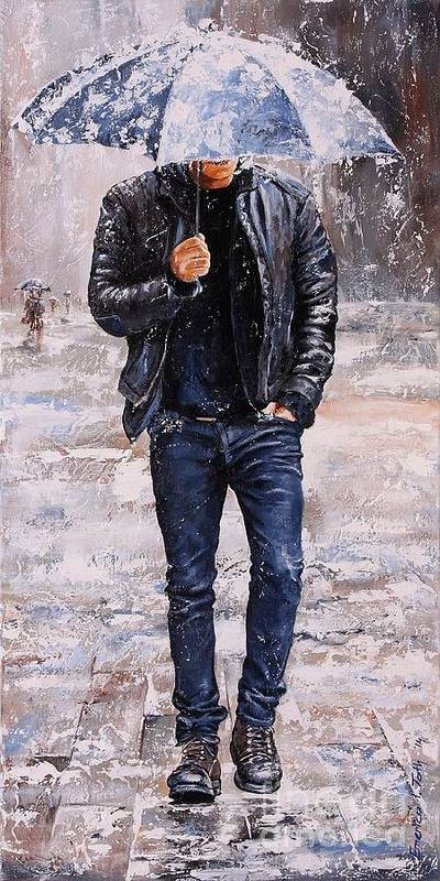 Rain Poster featuring the painting Rainy Day #23 by Emerico Imre Toth