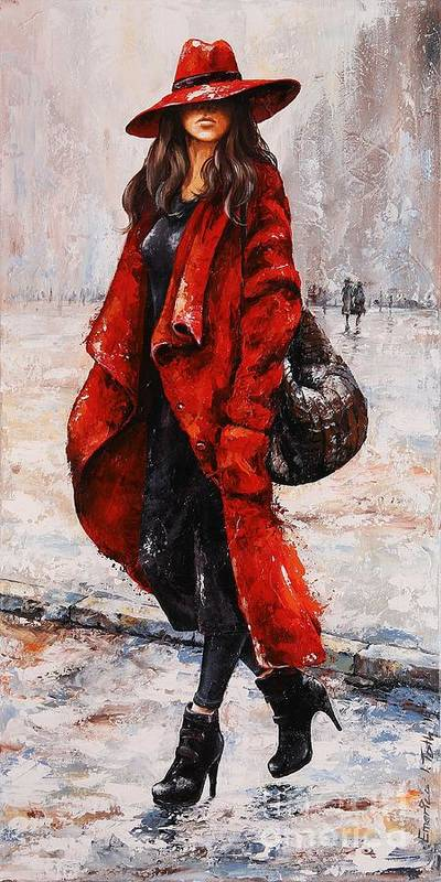 Rain Poster featuring the painting Rainy Day - Red And Black #2 by Emerico Imre Toth
