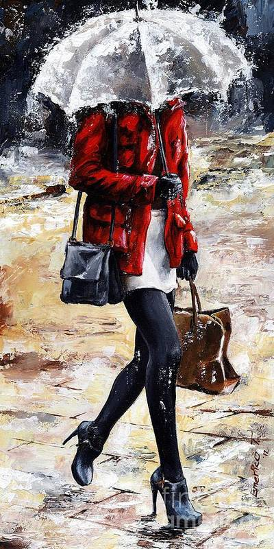 Rain Poster featuring the painting Rainy Day - Woman Of New York 09 by Emerico Imre Toth
