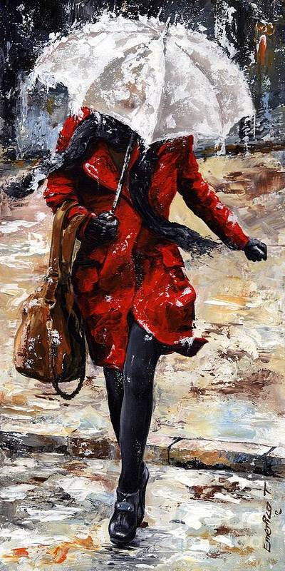 Rain Poster featuring the painting Rainy Day - Woman Of New York 10 by Emerico Imre Toth