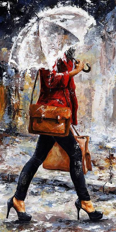 Rain Poster featuring the painting Rainy Day - Woman Of New York 17 by Emerico Imre Toth