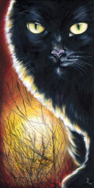 Cat Poster featuring the painting Sunset by Hiroko Sakai