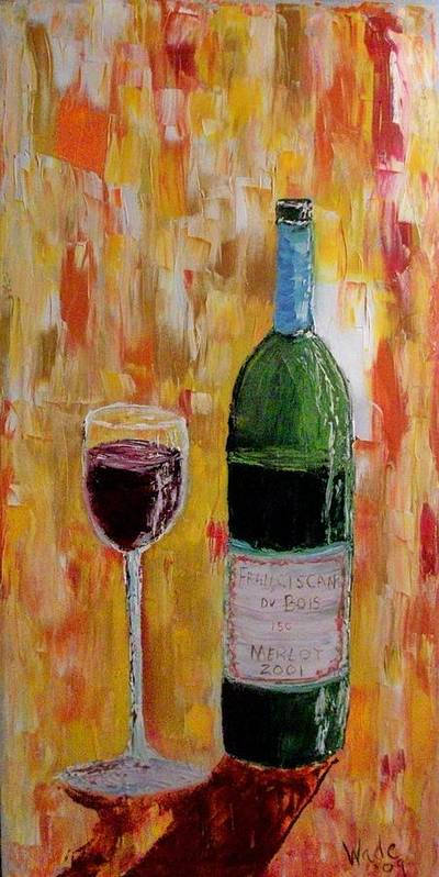Wine Poster featuring the painting Tall Merlot by Craig Wade