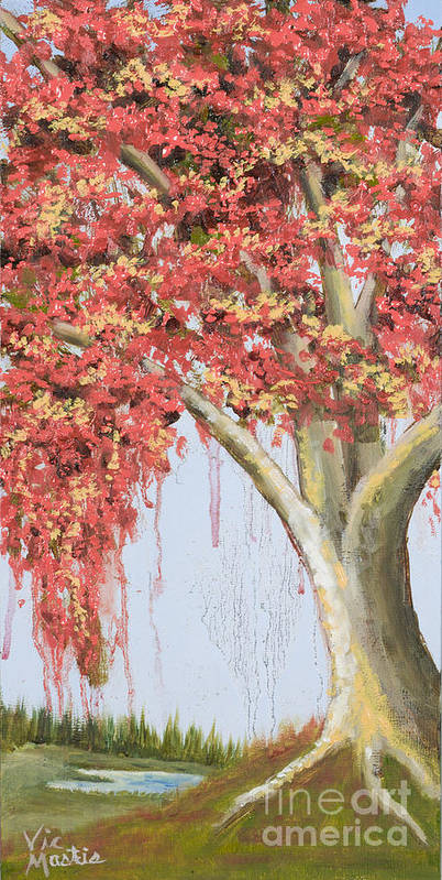 Tree Poster featuring the painting Under The Tree With Gold Leaf By Vic Mastis by Vic Mastis